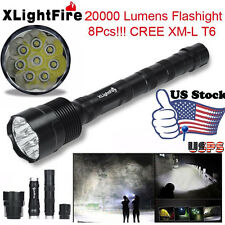 XLightFire 20000 Lumens 8x CREE XML T6 5 Mode 18650 Super Bright LED Flashlight