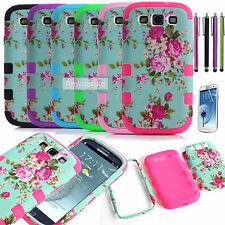 Luxury Flower Shockproof Hard Back Cover Case for Samsung Galaxy S3 S III i9300