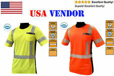 ANSI Class 3 Hi Vis Reflective Safety Shirt Construction Orange/Yellow All Sizes
