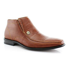 NEW MENS ANKLE BOOTS LEATHER LINED ZIPPERED CASUAL DRESS SHOES /BROWN 606299