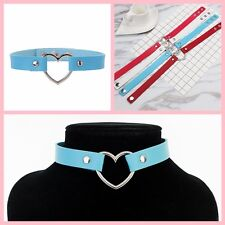 Blue Punk Gothic Buckle Bracelet Genuine Leather Collar Choker Necklace Jewelry