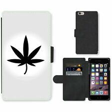 Phone Card Slot PU Leather Wallet Case For Apple iPhone Marijuana Vector Icon Le
