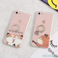 For iPhone 7 7 Plus 6 6S Cute Funny Stupid Cat Matte Finger Rings TPU Case Cover