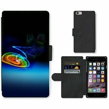 Phone Card Slot PU Leather Wallet Case For Apple iPhone Colourful Abstract Light