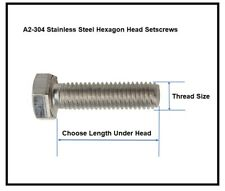 Stainless Steel Bolts / Screws Hex Head A2 Full Thread Setscrews M3,M4,M5,M6,M8
