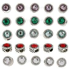 5pcs Metal Circle Crystal Charm Beads for European Charms Bracelet Chain Finding