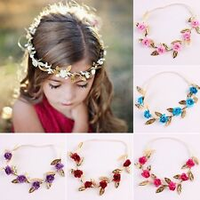 Headband Floral Rose Flower Wreath Gold Leaves Baby Garland Hair Band