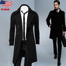 2017 Winter Mens Slim Stylish Trench Coat Double Breasted Long Jacket Outwear US