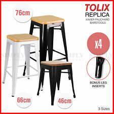 4x Tolix Bamboo Bar Stool High Replica Xavier Pauchard Metal Steel Kitchen Cafe