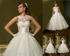 New Classic Tea Length Lace Wedding Dress Bridal Gown Party Prom Dress Size 6-18