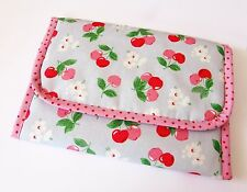 Handmade baby travel changing mat for bag -Oilcloth & Cath Kidston Cherry Blue