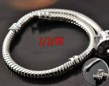 5Pcs Wholesale Fashion Silver Snake Chain Bracelet Fit European Charm Beads DIY
