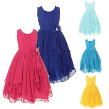 Kids Girls Communion Party Princess Pageant Bridesmaid Wedding Dress Prom Gown