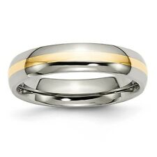 Titanium 14k Gold Inlay 5mm Polished Band Ring - Ring Size: 6 to 13