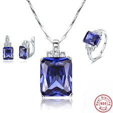 Free Box Party Tanzanite Ring+Earrings+Pendant 925 Sterling Silver Jewelry Sets