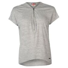 Ladies Designer Lee Cooper Stylish Short Sleeves V Neck Zip Detail Top T Shirt