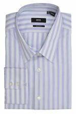 HUGO BOSS MEN DRESS SHIRT BUTTON FRONT LONG SLEEVE COLLARED BRADY STRIPED PURPLE