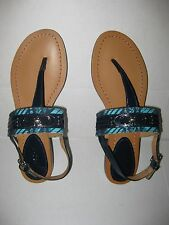 Jacquard COACH Sammy Thong Sandals Navy Turquoise Patent Leather Canvas -NEW