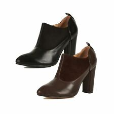 Ladies Block heel ankle boots with pointed toe and suedette panels