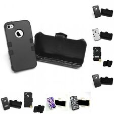 For Apple iPhone 4/4S Hybrid TUFF IMPACT Holster Clip Hard Case Cover