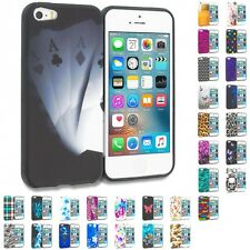 For Apple iPhone 5 5S SE TPU Design Soft Gel Rubber Protective Skin Cover Case
