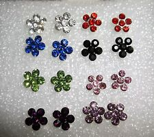 Stunning Sparkle Crystal Daisy Flower Silver Plated Stud Earrings - 7mm Diameter