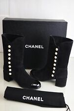 $1475 NEW in Box  CHANEL 16B  Black SUEDE Patent Cap Toe PEARLS  BOOTS Shoes 38