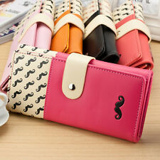 Popular Moustache Long Design Pu Leather Women Wallets Hasp Purse Handbags 1 Pcs