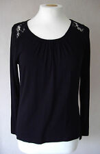 New M&S - size 6 8 12 - lovely BLACK lace detail TOP/ tunic - BNWoT