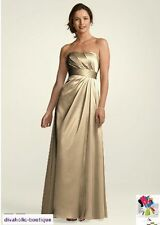 NWT David's Bridal Gold Textured Satin Pleated Empire Bodice Maxi Gown Dress 4 6