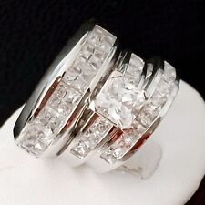 NEW 3PCS HIS/HERS ENGAGEMENT  WEDDING BAND BRIDAL RING SET IN STERLING SILVER/CZ