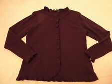 WOOLOVERS FANCY FRILLS CARDIGAN SWEATER EGGPLANT OR GREEN SZ. LARGE NWOT