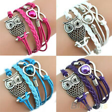 Cute Infinity Owl Heart Pearl Leather Charms Multilayer Bracelet Gift Fashion