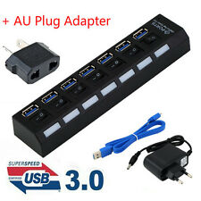 4/7Ports USB 3.0 Hub with On/Off Switch+EU AC Power Adapter for PC Laptop Lot FC