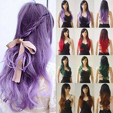 19-28 inch Synthetic Hair Full Head Wig Long Straight Curly Ombre Daily Wigs nk