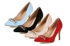 Ladies Suedette pointed toe high heel court shoes with chain detail