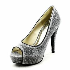 Silver Lyrex sparkly peep toe platform high heel party court shoes