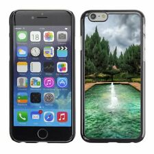 Hard Phone Case Cover Skin For Apple iPhone Green garden pond fountain