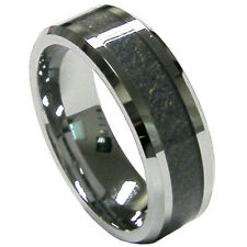 Top Sale Men's 8mm Carbon Fiber Inlay Tungsten Wedding Band Ring Size 9 10 11 12
