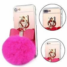 Soft Silicone Fur Pom Pom Ball Case Cover Skin for iPhone 6 6S 7 7Plus Hot Pink