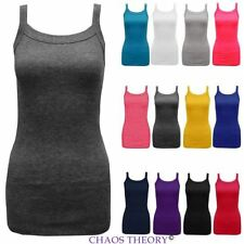 New Womens Plain Ribbed Vest Stretchy Top Ladies Rib Strap T-Shirt Sizes 8-14