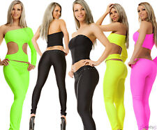 LEGGINGS STRETCH SEXY LOW-RISE TROUSERS CLUBWEAR NEON PANT MADE IN EU STRASS