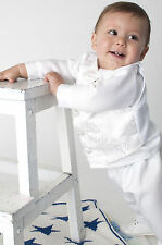 Baby Boy Christening Wedding Waistcoat Suit Smart Outfit White Ivory 0-18 Months