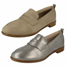 LADIES CLARKS SLIP ON CASUAL LEATHER LOW HEEL LOAFERS SHOES SIZE ALANIA BELLE