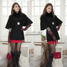 Sexy Women Slim Wool Faux Fur Trench Parka Double-Breasted Winter Coat EA9