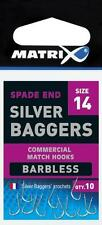 MATRIX SILVER BAGGERS BARBLESS SPADE END HOOKS. ALL SIZES AVAILABLE.LOW POSTAGE.
