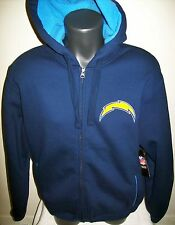 SAN DIEGO CHARGERS Hooded Jacket Sherpa Hoody Sewn Logos MEDIUM BLUE