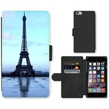 Phone Card Slot PU Leather Wallet Case For Apple iPhone Eiffel Tower in wet even