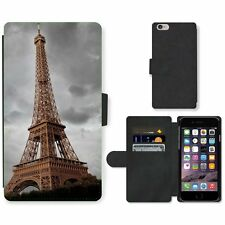 Phone Card Slot PU Leather Wallet Case For Apple iPhone Eiffel Tower in cloudy d