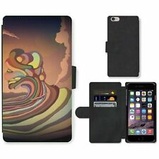 Phone Card Slot PU Leather Wallet Case For Apple iPhone Colorful painting of the